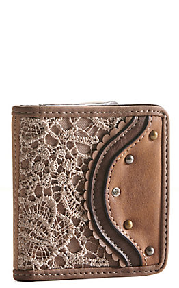 Justin Women's Tan with Lace Bifold Wallet