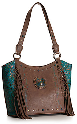 Justin Brown and Turquoise with Tooling and Fringe Concealed Carry Purse