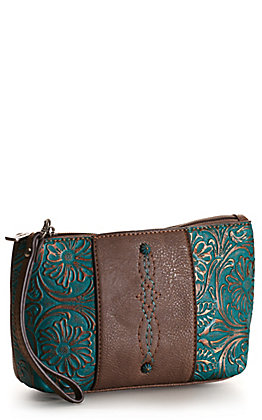 Justin Brown and Tooled Turquoise Essentials Cosmetics Bag / Wristlet