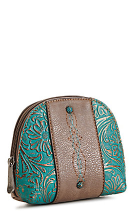 Justin Brown and Tooled Turquoise Cosmetic Bag
