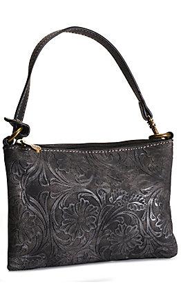 Justin Black Tooled Mini Handbag / Wristlet