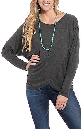 Rockin' C Women's Charcoal Grey Dolman Sleeve Fashion Top