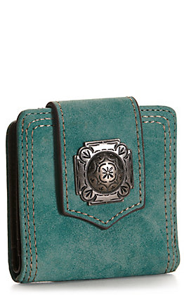 Justin Turquoise with Concho Snap Bi Fold Wallet