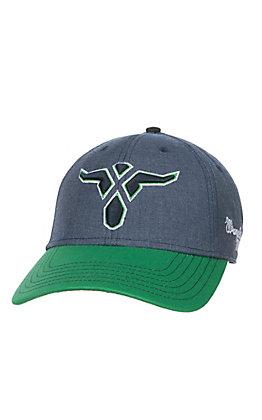 Wrangler 20X Blue and Green Bull Logo Snap Back Cap