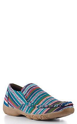 Roper Women's Turquoise Multi Serape Stripe Slip On Casual Shoe