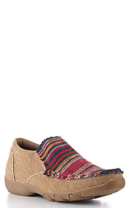 Roper Women's Tan with Red Multi Serape Slip On Casual Shoe