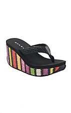 Roper Women's Black with Multicolor Wedge Raffia Sandals