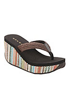 Roper Women's Brown with Multicolor Wedge Raffia Sandals