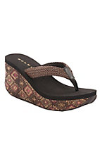 Roper Women's Brown with Aztec Print Cork Wedge Sandals