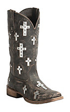 Roper Women's Sanded Brown with Metallic Crosses Square Toe Western Boot