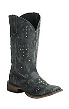 Roper Women's Sanded Black with Crosses Square Toe Western Boot