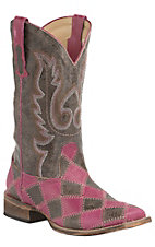Roper Women's Brown & Pink Patchwork w/ Brown Top Square Toe Western Boots