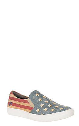 Roper American Beauty Women's Stars and Stripes Slip On Sneaker Casual Shoes