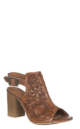 Roper Women's Tan Tooled Leather Open Toe Fashion Heel Sandals