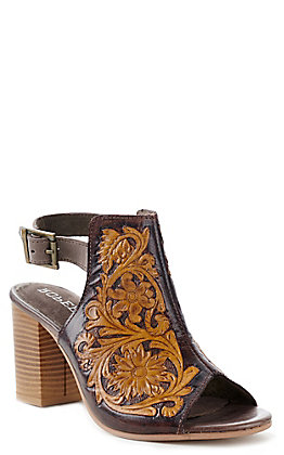 Roper Women's Mika Brown And Tan Tooled Leather Open Toe Sandal