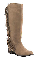 Roper Women's Tan Suede with Fringe Round Toe Western Boots