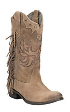 Roper Women's Tan Suede with Fringe & Studs Round Toe Western Boots