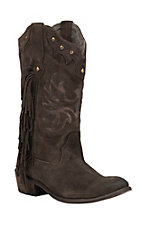 Roper Women's Chocolate Suede with Fringe & Studs Round Toe Western Boots