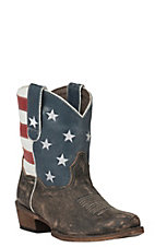 Roper Women's Sanded Brown with American Flag Snip Toe Western Bootie