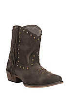 Roper Women's Chocolate Suede with Side Fringe & Studs Snip Toe Western Bootie