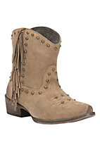 Roper Women's Tan Suede with Side Fringe & Studs Snip Toe Western Boots