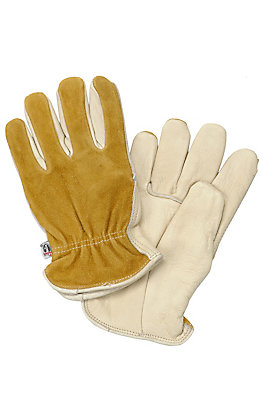 M&F Mens Tan Cowhide Split Back Gloves