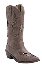 Roper Women's Distressed Brown w/ Brown Glitter Underlay Snip Toe Western Fashion Boots