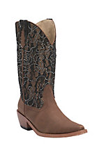 Roper Women's Brown w/ Black Lace & Crystals Top Snip Toe Western Fashion Boots