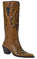 XTJRoper Ladies Cognac w/ Floral Skull Embroidered Pointed Toe Western Fashion Boot