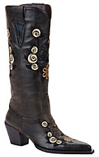 XTJRoper Ladies Chocolate w/Floral Skull Embroidery Pointed Toe Western Fashion Boot