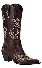 XTJRoper Ladies Brown w/ Natural Stars & Stones Pointed Toe Western Fashion Boots