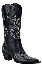 Roper Ladies Black w/ Natural Stars & Stones Pointed Toe Western Fashion Boots
