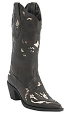 Roper Rockstar Women's Chocolate w/ Python Snake Inlay Pointed Toe Western Fashion Boot