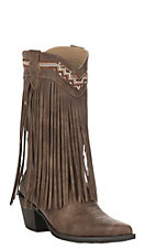 Roper Women's Brown Faux Leather with Fringe Snip Toe Fashion Boots