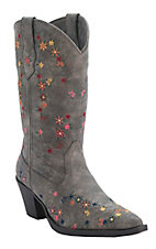 Roper Women's Brown w/ Multicolor Floral Embroidery Snip Toe Western Fashion Boots