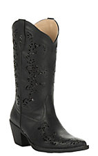 Roper Women's Black Faux Leather with Black Metallic Inlay Snip Toe Fashion Boot