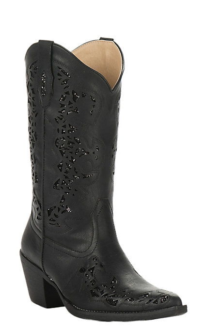 f079af8ee67 Roper Women's Black Faux Leather with Black Metallic Inlay Snip Toe Fashion  Boot