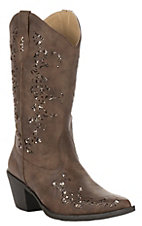 Roper Women's Tan Faux Leather with Gold Metallic Inlay Snip Toe Fashion Boot
