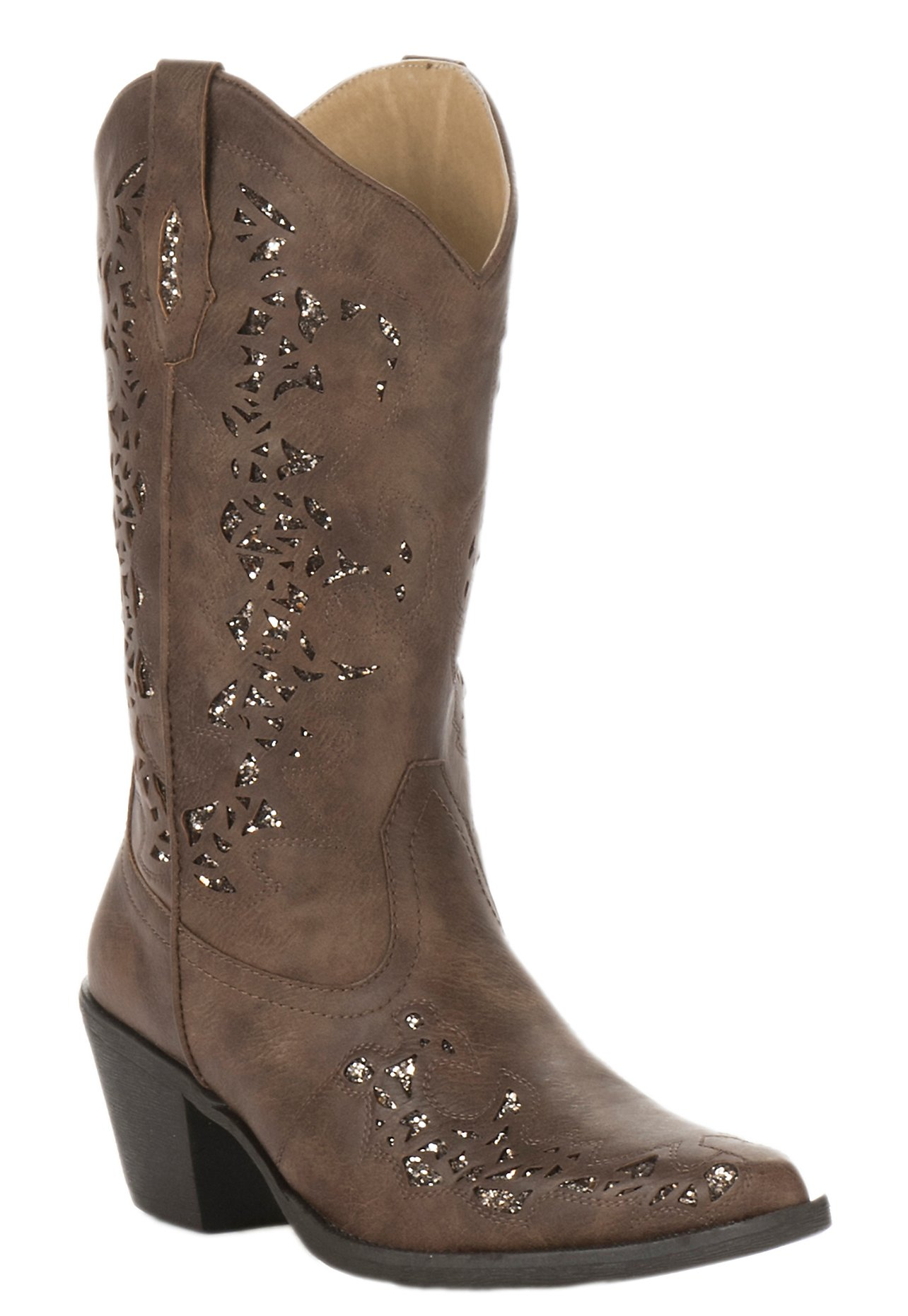 Roper Womens Tan Faux Leather with Gold Metallic Inlay Snip Toe Fashion  Boot