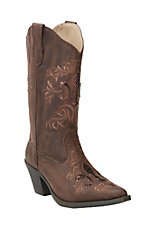 Roper Women's Brown with Sequin Fleur De Lis Underlay Snip Toe Western Fashion Boots