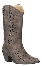 Roper Women's Alisa Brown w/ Metallic Underlay & Lasered Design Western Snip Toe Boots