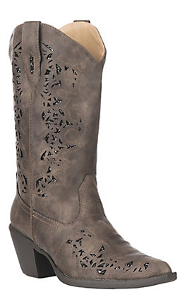 Roper Women's Alisa Brown with Metallic Underlay & Lasered Design Western Snip Toe Boots