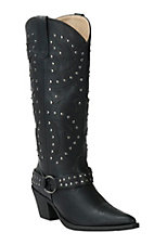 Roper Women's Tumbled Black with Silver Studs Harness Snip Toe Boots