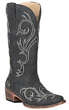 Roper Women's Riley Black with White Embroidery Snip Toe Boots