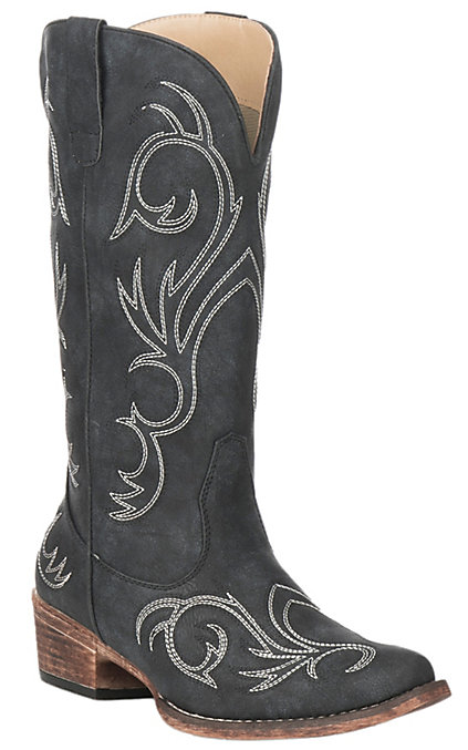 cfd6cde70e4 Roper Women's Riley Black with White Embroidery Snip Toe Boots