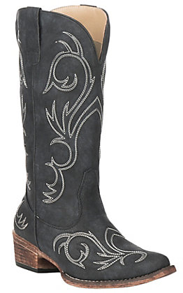 Roper Women's Black Faux Leather with White Stitching Snip Toe Western Boots