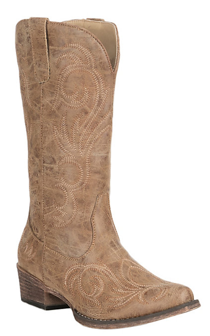 4f0e69b9c25 Roper Women's Riley Tan Vintage Faux Leather with Embroidery Western Snip  Toe Boots