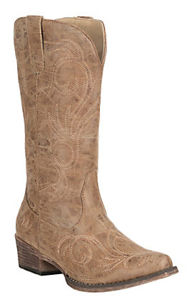 Roper Women's Riley Tan Vintage Faux Leather with Embroidery Western Snip Toe Boots