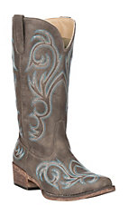 Roper Women's Riley Chocolate Vintage Faux Leather with TurquoiseEmbroidery Western Snip Toe Boots