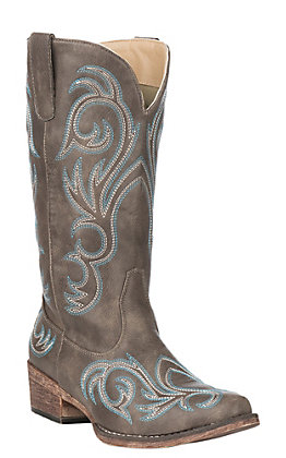 Roper Women's Chocolate Brown Faux Leather with Turquoise Stitching Snip Toe Western Boots